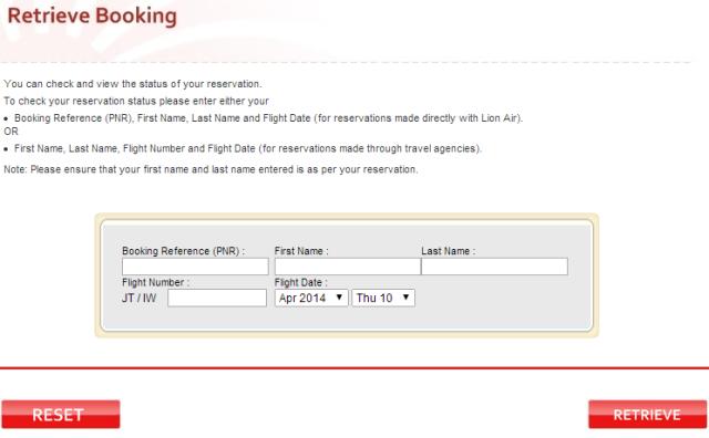 retrieve booking